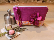 Load image into Gallery viewer, Linen and cotton pink toiletry bag. Deluxe cosmetic pouch. Pink linen makeup bag. Travel organizer. Luxury gift for her.