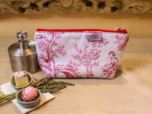 Load image into Gallery viewer, Red and white zipper pouch. Cosmetic bag. Large makeup bag. Toiletry bag. Travel cosmetic case. Toile de jouy bag.