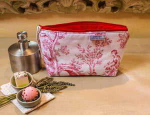 Red and white zipper pouch. Cosmetic bag. Large makeup bag. Toiletry bag. Travel cosmetic case. Toile de jouy bag.