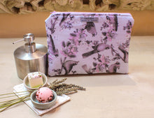 Load image into Gallery viewer, Pink and gray bird print zipper pouch. Padded cosmetic case. Makeup bag. Toiletry pouch. Bird zipper bag. Made to order.