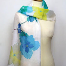 Load image into Gallery viewer, Hand painted silk scarf. Blue and yellow floral silk scarf. Silk foulard.
