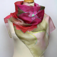 Load image into Gallery viewer, Hand painted silk scarf. Pink floral silk scarf. Silk foulard. Luxury gift for her.