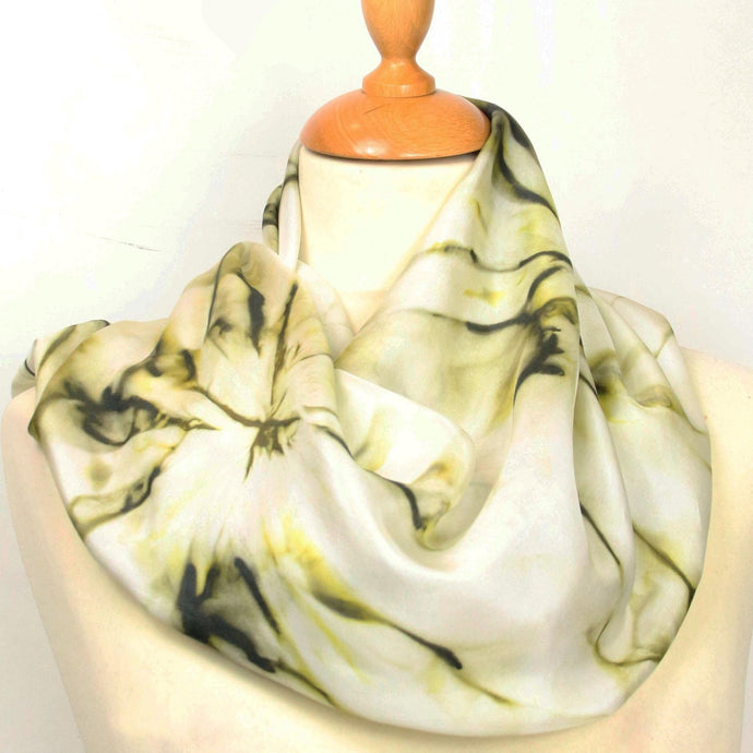 Hand painted silk scarf. Khaki green abstract silk scarf. Silk foulard. Wearable art.
