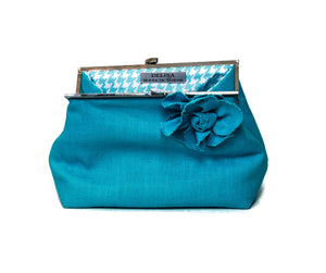 Turquoise blue linen clutch bag, unique accessory, perfect blue bridesmaid clutch, luxury makeup bag, Blue linen handbag