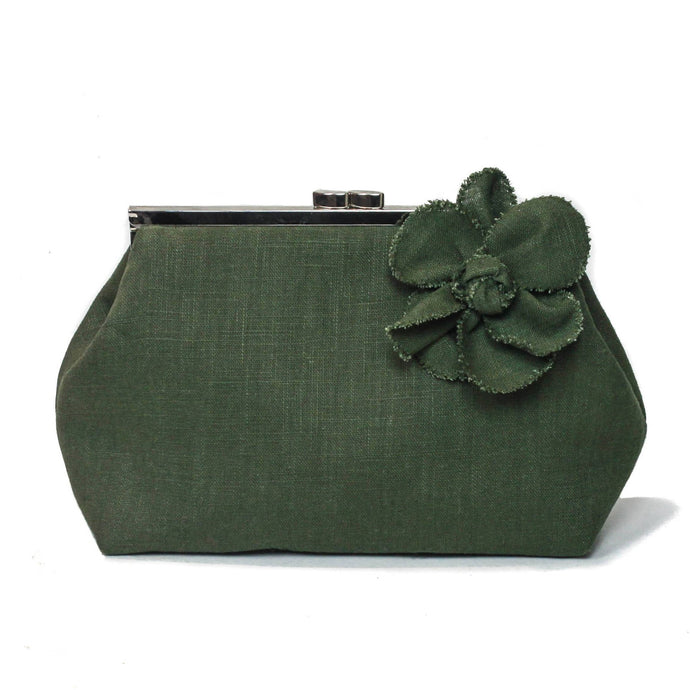 Khaki linen clutch bag, Army green linen handbag, luxury makeup bag, green clutch purse, bridesmaid clutch bag