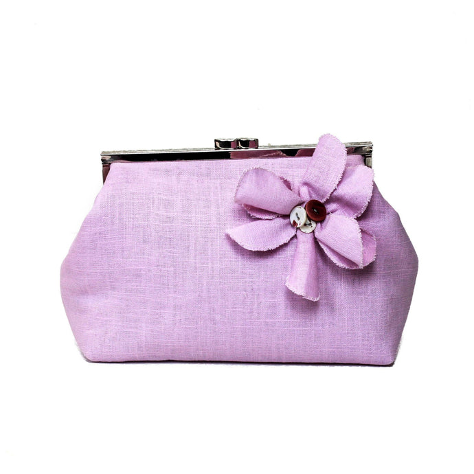 Lilac linen clutch bag, luxury makeup bag, pink linen handbag, bridesmaid clutch bag, wedding linen purse