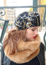 Load image into Gallery viewer, Black slouchy french beret. Unique fabric hat.