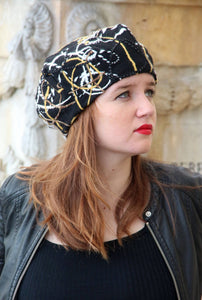 Black slouchy french beret. Unique fabric hat.