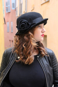 Black Cloche Winter Felt hat.
