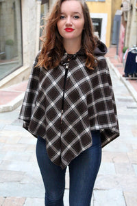 Hooded cape. Tartan cape. Womens poncho. Tartan coat. Cape coat. Brown cape. Brown poncho. Brown tartan cape with hood. Woolen cape.
