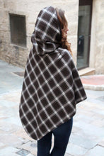 Load image into Gallery viewer, Hooded cape. Tartan cape. Womens poncho. Tartan coat. Cape coat. Brown cape. Brown poncho. Brown tartan cape with hood. Woolen cape.