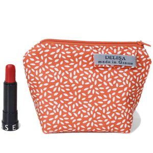 Orange zipper pouch. Womens toiletry bag. Zipper purse. Cosmetic bag. Makeup bag. Travel bag