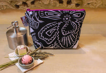 Load image into Gallery viewer, Black and white zipper pouch. Cosmetic bag. Large makeup bag. Toiletry bag. Travel cosmetic case. Large zipper.
