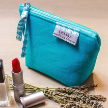 Load image into Gallery viewer, Mini turquoise blue linen zipper pouch . Lavender pouch. Lipstick case. Small makeup bag. Coin purse. Mini zipper. Cosmetic pouch