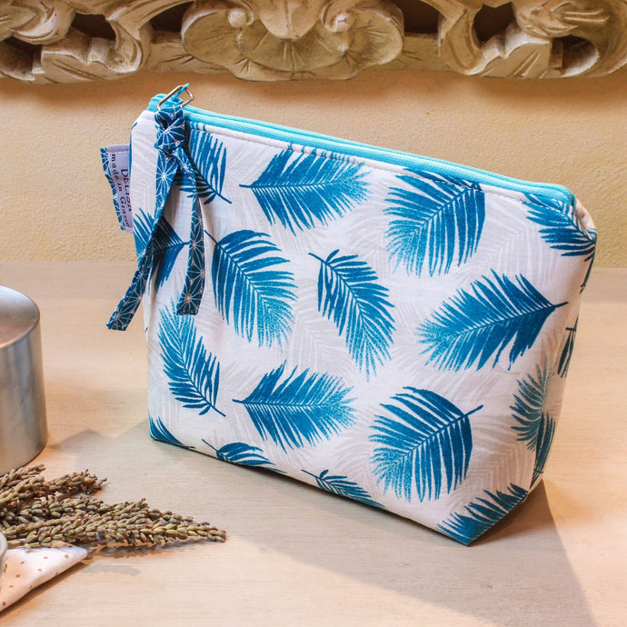Turquoise blue zipper pouch. Cosmetic bag. Medium sized makeup bag. Toiletry bag. Travel cosmetic case. Medium zipper.