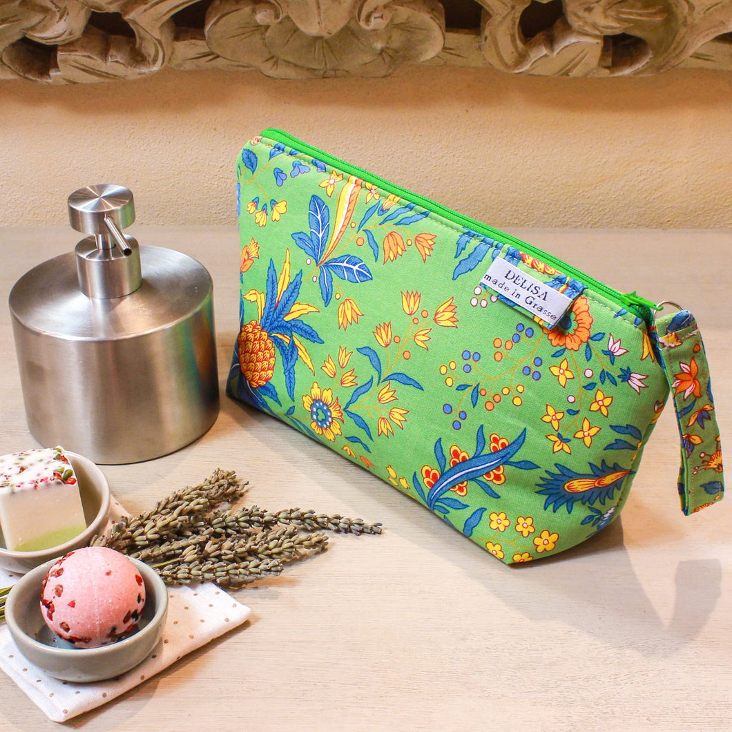 Green flower and pineapple motif zipper pouch. Cosmetic bag. Large makeup bag. Toiletry bag. Travel cosmetic case. Small zip up bag.