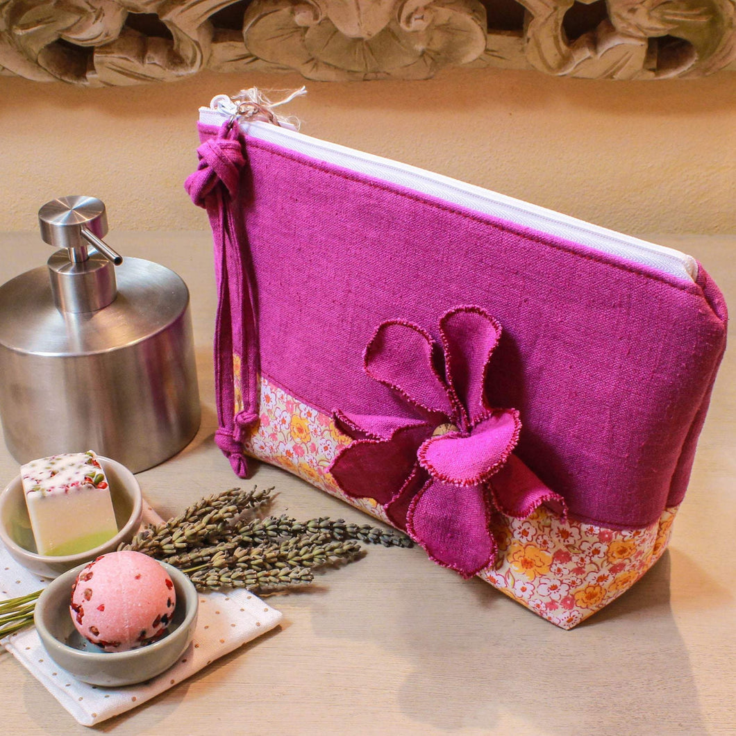 Linen and cotton pink toiletry bag. Deluxe cosmetic pouch. Pink linen makeup bag. Travel organizer. Luxury gift for her.