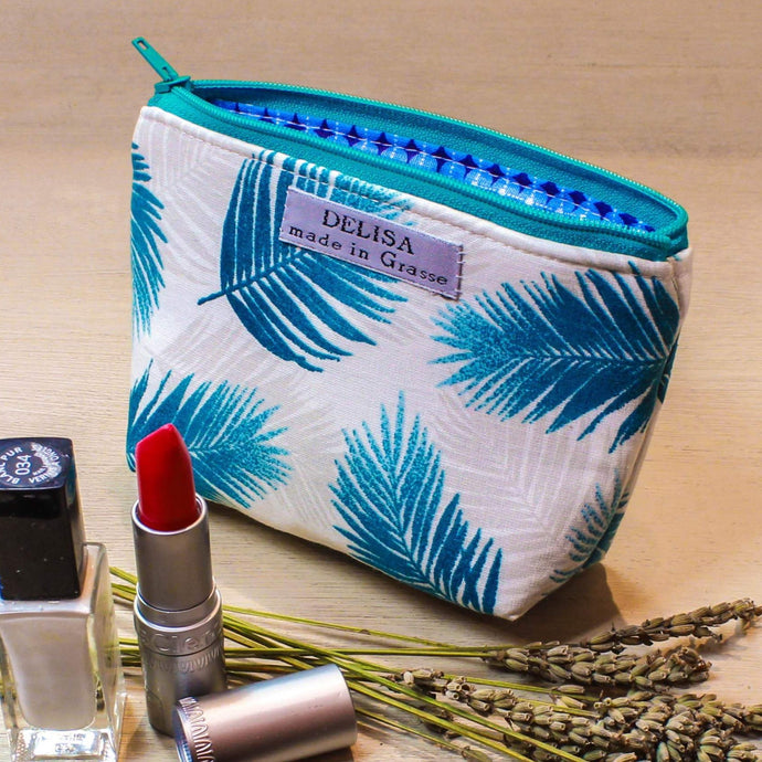 Turquoise blue and white mini zipper pouch . Lavender pouch. Lipstick case. Small makeup bag. Coin purse. Mini zipper. Cosmetic pouch