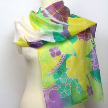 Load image into Gallery viewer, Hand painted silk scarf. Green, purple and yellow floral silk scarf. Silk foulard.
