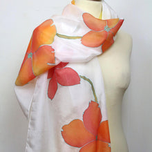 Load image into Gallery viewer, Hand painted silk scarf. Orange floral silk scarf. Silk foulard. Wearable art ready to ship