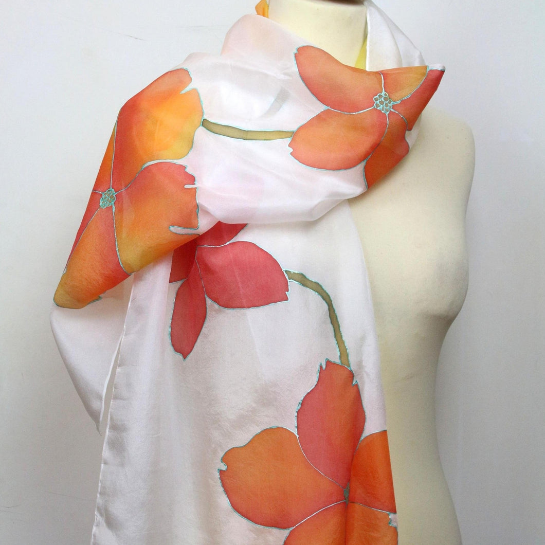 Hand painted silk scarf. Orange floral silk scarf. Silk foulard. Wearable art ready to ship