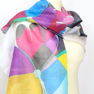 Hand painted silk scarf. Multicolored geometric flower silk scarf. Silk foulard.