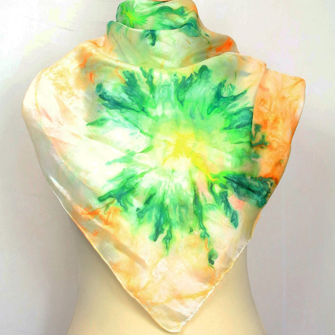 Hand painted silk scarf. Green and orange abstract silk scarf. Silk foulard.