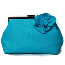Load image into Gallery viewer, Turquoise blue linen clutch bag, unique accessory, perfect blue bridesmaid clutch, luxury makeup bag, Blue linen handbag