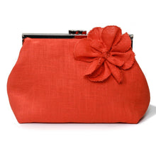 Load image into Gallery viewer, Orange linen clutch bag, bridesmaid clutch bag, Orange linen handbag, luxury linen makeup bag,