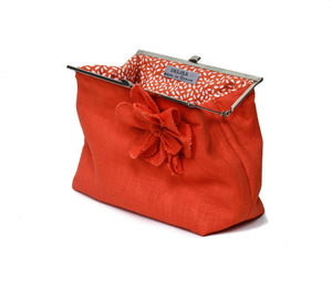 Orange linen clutch bag, bridesmaid clutch bag, Orange linen handbag, luxury linen makeup bag,