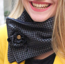 Load image into Gallery viewer, Cowl scarf, short scarf, tartan scarf, plaid scarf, women scarf, winter scarf, fashion scarf, houndstooth fabric neckwarmer, trendy scarf