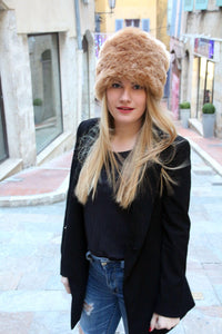 Cossack hat, winter hat, fake fur hat, pillbox hat,