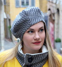 Load image into Gallery viewer, Tweed beret hat. Fabric hat. Slouchy french beret.