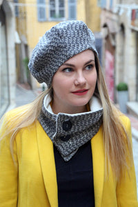 Tweed beret hat. Fabric hat. Slouchy french beret.