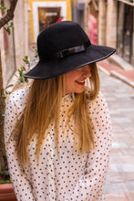 Load image into Gallery viewer, Black Fedora wide brim hat.