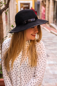 Black Fedora wide brim hat.