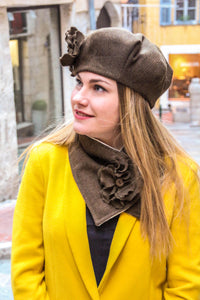 Brown hat with flower. Beret hat for women,