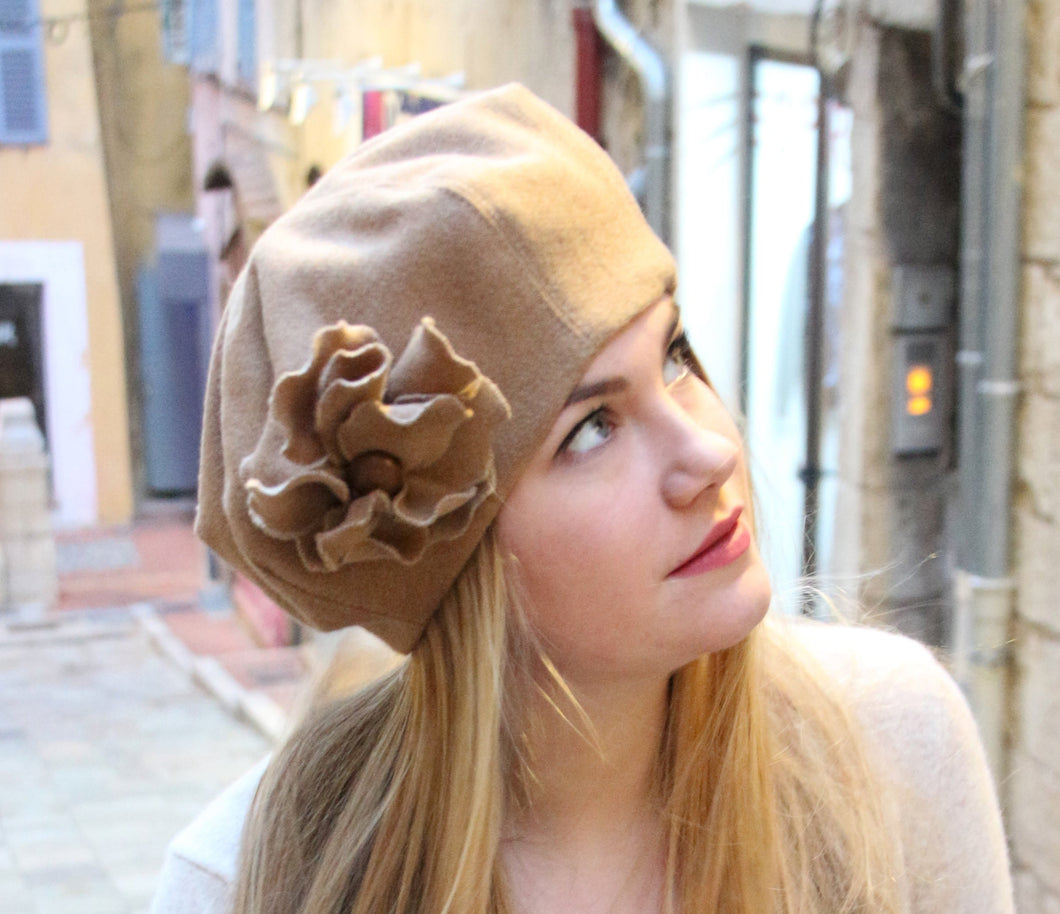 Womens hat, French beret with flower