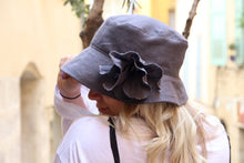 Load image into Gallery viewer, Gray linen summer floppy hat.