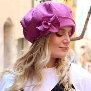 Pink summer slouchy newsboy hat,
