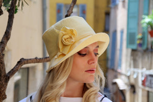 Yellow linen summer floppy hat.