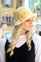 Load image into Gallery viewer, Yellow linen summer floppy hat.