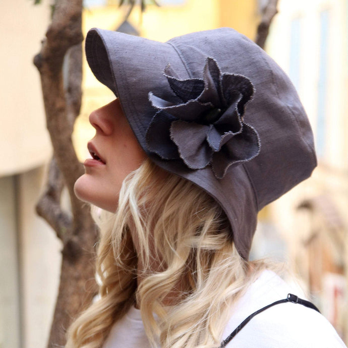 Gray linen summer floppy hat.