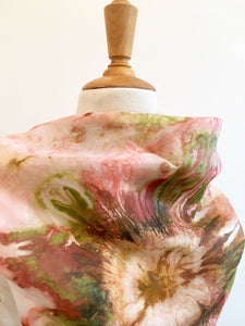 Hand painted silk scarf, Abstract flower design scarf in warm pink tones,