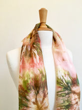 Load image into Gallery viewer, Hand painted silk scarf, Abstract flower design scarf in warm pink tones,