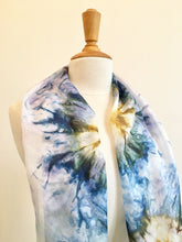 Load image into Gallery viewer, Hand painted blue silk scarf with an abstract flower design. Pure silk foulard in blue and gold