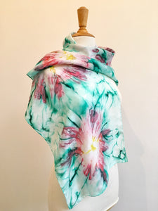 Hand painted silk scarf, Vibrant red and green abstract flower design pure silk scarf,