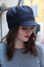 Load image into Gallery viewer, Womens black cap. Fabric baker boy cap.