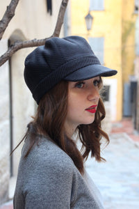 Womens black cap. Fabric baker boy cap.
