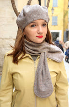 Load image into Gallery viewer, Unique scarf, Wool fabric scarf, Lined with fleece, Warm winter scarf, Trendy and unique scarf, Brown scarf, Womens scarf, gift for her
